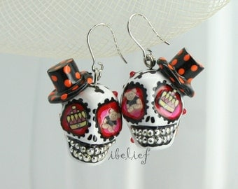 Skull in a-day is the day of the dead top hat earrings stone