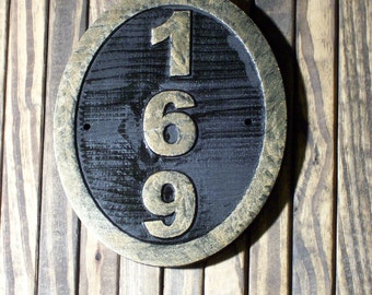 Wood Address Sign Custom Carved Oval Brass Finished Wood Hand Painted