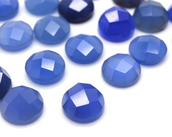 GCF-1181 - Blue Onyx Faceted Cabochon - Round 8mm - Gemstone Cabochon - AA Quality - 1 Pc