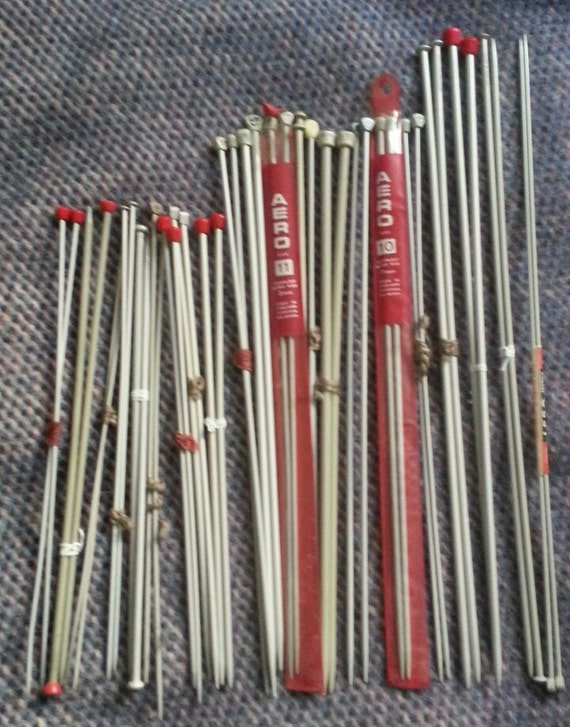 Knitting Needle Sizes Old And New : Vintage metal knitting needles in old british by