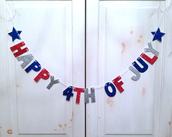 Happy 4th Of July Banner -- Glitter Banner / Photo Prop