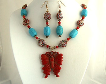 Red Butterfly Necklace Turquoise Necklace Red Coral Chinese Jewelry Cloisonne Necklace Magnificent Gift for Her Dynamic Flower Necklace