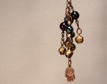 Key Chain Purse Charm - Deflect Negativity - Confidence Security - Garnet Hematite Tiger Eye Smokey Quartz - Reiki Infused Jewelry