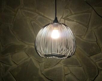 Re-purposed, hanging pendant lighting, grey black light, metal, wire