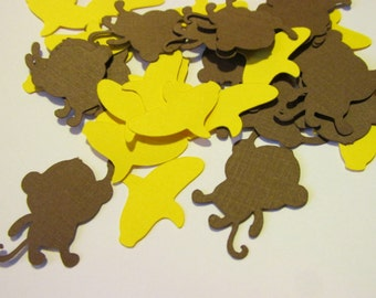 Monkey and banana confetti, hand puched embellishment, party decor  (100 count)