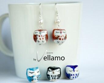 Dainty sterling silver with miniature porcelain owl earrings, owl earrings, fashion earrings, small owl bird earrings, black, blue, pearls