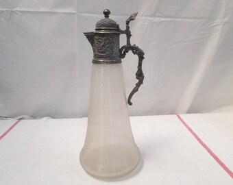 Antique Art Nouveau Pewter and Glass Claret Pitcher / Jug (W969)