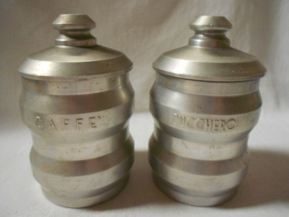 pair of italian vintage aluminum kitchen canisters sugar and