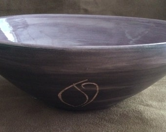 Black and Purple Brushed Bowl with White Carving