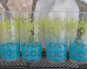 Vintage Snowflake Bar Drink Glasses Mid Century Barware