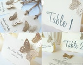 60 Guests -Butterfly Wedding Reception Set:Butterfly Place Cards , Favor Tags ,Table Numbers, Wedding Signs -Limited Time Only