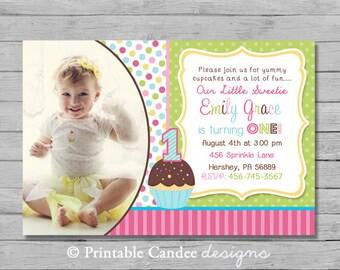 Cupcake 1st Birthday Invitation - DIY Custom Printable