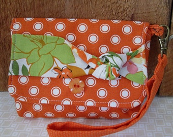 Orange White Polka Dots Floral Band Trim With Wristlet Snap Closure