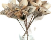Large Sized Book Paper Kusudama Paper Origami Flower with Brown Paper Stems