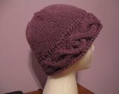 Purple Bobble  knit hat Pattern PDF file