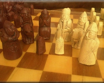 Medieval Isle of Lewis Chess Set - contrasting sides - Two Extra Queens - Walnut and Mellow Ivory with Optional Vinyl Chess Board