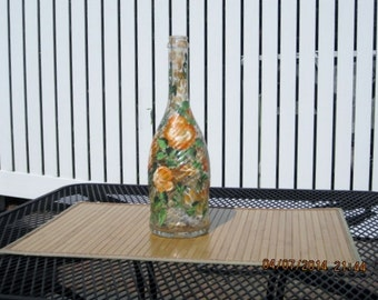 Wine bottle with lights hand painted