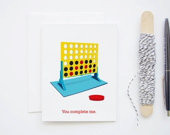 Retro Connect Four 4 Game - 1980s Blank Greeting Love Card