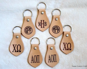 Leather Keychain, Personalized Monogrammed Leather Keychain, Leather Key Chain, Leather Key Fob, Custom Key Fob, Custom Key Chain