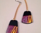 Vinyl Record Earrings, purple and gold long dangle