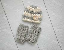 Newborn boy hat and leg warmer set, newborn boy photo prop, hat and leg warmet set, grey, newborn boy hat, baby boy hat, coming home outfit