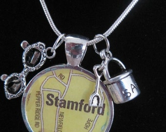 Stamford, CT Map Necklace