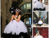Masquerade  - Music of the Night Couture Feather - Flower Girl Tutu Dress 2t, 3t, 4t, 5t, 6