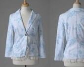 Womens clothing pre-loved repurposed cotton blazer white and blue lace M