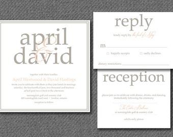 DIY printable formal wedding invitations and matching rsvp response card