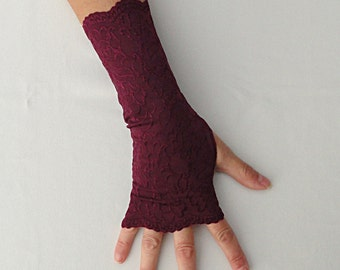 Maroon Gloves - Burgundy Embroidered Lycra Long Gloves .