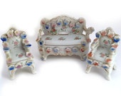 Vintage Porcelain Dollhouse Furniture, Occupied Japan, Sofa, Two Chairs, China FLowers