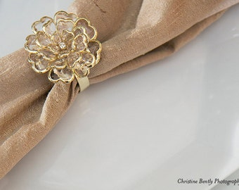 125 GOLD  and 125 SILVER Crystal Peony Napkin Rings, Simply Elegant for Wedding and Special Events