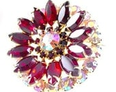 Brooch Juliana D & E Aurora Borealis Red Rhinestones High End Vintage Jewelry