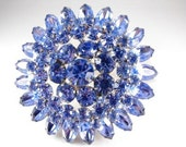 Rhinestone Brooch Iced Blue Spectacular Three Tiered Dimensional Vintage Beauty Matching Earrings Too!