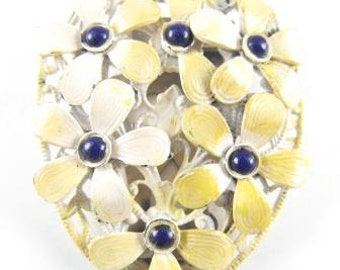 Posies Dress Shoe Clip Enameled Butter Tone Metals Deep Blue Glass Centers Genuine Article!