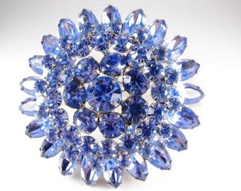 Iced Blue Power Brooch Spectacular Three Tiered Dimensional Vintage Beauty