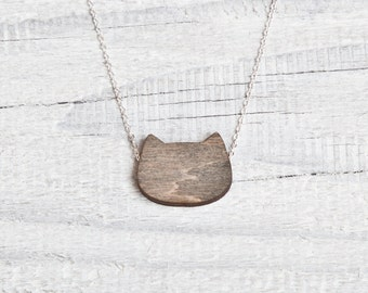 Wood Cat Necklace Black Cat Jewelry Cute Pendant Bridesmaids Necklace Tiny Necklace Bridesmaids Jewelry Womens Gift