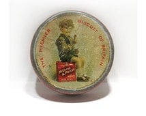 Antique Shortbread Sample Size Cookie Tin - McVite & Price's Biscuit Tin - Advertising Tin - The Premier Biscuit of Britain -Circa 1930's