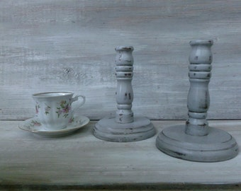 Upcycled Paris Grey Painted Candlesticks