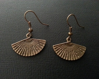 Bronze Oriental Fan Earrings