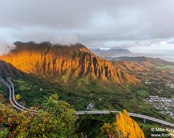 Aerial View of the Ko'olau Mountains at Dawn in Kaneohe Hawaii