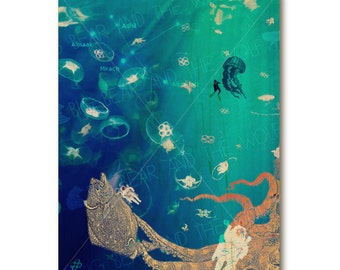 Surreal underwater art on wood, jellyfish and octopus, deep sea blue