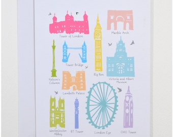 Iconic London Buildings - Greeting Card (Free UK Delivery)