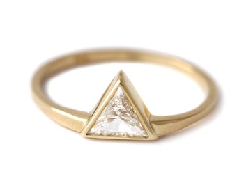 Trillion Diamond Engagement Ring, Trillion Diamond Ring, Triangle Diamond Ring, Minimalist Engagement Ring, Diamond Triangle Ring