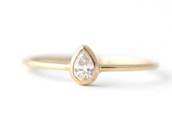 Pear Diamond Ring - Diamond Engagement Ring - 14k Solid Gold