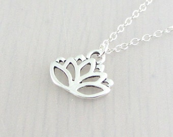 Silver Plated Lotus Flower Charm On A Sterling Silver Necklace, Silver Lotus Flower Pendant, Lotus Necklace, Lotus Flower Necklace