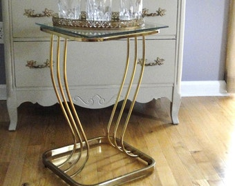 Vintage End Table Brass Glass Hollywood Regency Square End Table Modern Chinoiserie Chic Furnishings