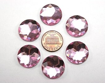 6 pcs Acrylic Faceted Rhinestone Cabochon - Pink Circle Round - 20mm diameter