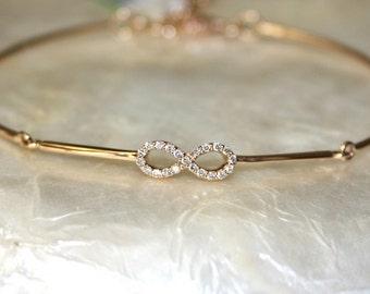 Diamond infinity jonc bracelet, Anniversary bracelet, Infinity diamond bracelet, 18k gold and VS-G diamonds
