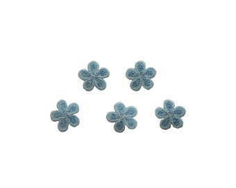 ID #6544 Lot 5 Light Blue Daisies Flowers Iron On Embroidered Patch Applique L5